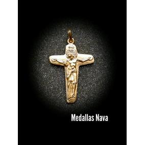 Crucifijo En Plata Con Baño En Oro De 24 Kilates