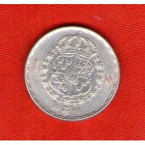 Moneda Suecia 1 Krona 1946 De Plata