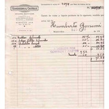 1948 Recibo Remate Gomensoro & Castells Montevideo Vintage