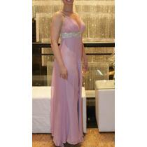 Vestido Lilas Bordado Com Pedrarias Modelo Exclusivo - Unico