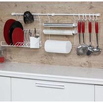 Kit 4 Aramado Suspensa Para Cozinha Escorredor Porta Rolos