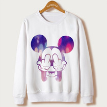 Blusa Moleton Gola Redonda Feminino Mickey Mouse Disney