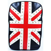 Mochila Bandeira Inglaterra Spikes Notebook Tribo Do Rock