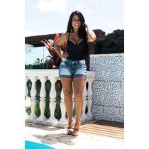 Short Feminino Jeans Oppnus Cós Médio Lycra 3140