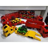 Conjunto 5 Caminhão Brinquedo Caçamba Prancha Trator Guincho