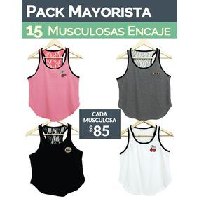 Pack 15 Musculosas Con Encaje