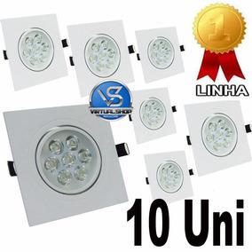 Kit 10 Spot Quadrado Led 7w Lampada Direcionável Gesso Sanca