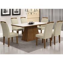 Conjunto Sala De Jantar Mesa Vidro Branco Luna 6 Cadeiras