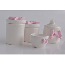 Kit Higiene Laço 4 Cerâmica + Porta Alcool Gel / Saboneteira