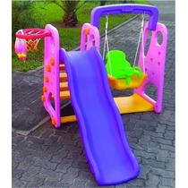 Playground Infantil 3 Em 1 Rosa Balanco E Escorregador