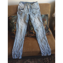 Jeans Pitillo Elasticado Claro Mujer Talla 38 Americanino