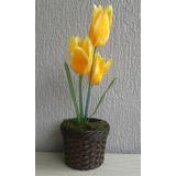 Arranjo De Flores Artificiais-tulipa Amarela- 40 Cm