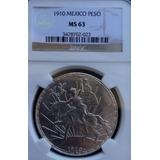 Moneda México Peso Caballito Plata Certificado 1910