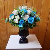 02 Arranjos Flores Artificiais - Rosas Azuis Sem O Vaso