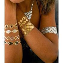 Flash Tattoos Metalizados A La Moda Gold Tatuajes Temporales