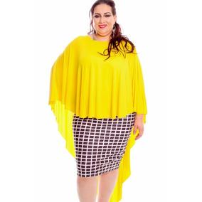 Várias Cores Maxi Tee Poncho Mullet Blusa Vestido Plus Size