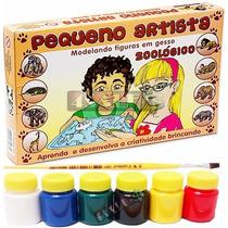 Molde Figura Gesso Brinquedo + Guache + Pincel - Zoologico