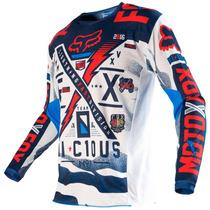 Camisa Fox 180 Vicious Infantil 16 Azul/branco M(m) Rs1