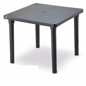 Mesa Plastica Desmontavel Quadrada 85cm Preta