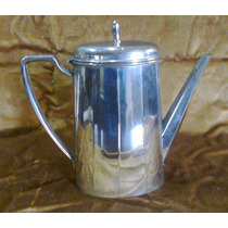 Cafetera Antigua Metal Brillante De 21 Cm De Alto Impecable