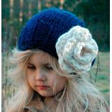 Gorro Flor Azul |lana| Baby Boutique - Tejidos Bebe Niños