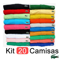 Kit 20 Camisas Polo Lacoste Camisetas Masculinas Atacado