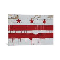 Pintura Arte Washington, D.c. Paint Drip City Flag On Wood P