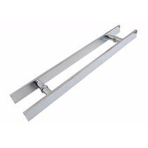 Puxador Duplo Alumínio 40cm Porta Pivotante Madeira/vidro