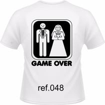 Camiseta Game Over Engraçadas Sátiras Masculina Homem