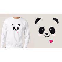 Blusa Branca Moletom Casaco Sweet Panda Cute Tumblr Heart