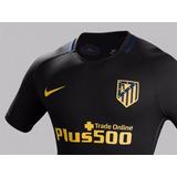 Camisa Do Atlético De Madrid Nova Preta Listrada Espanha