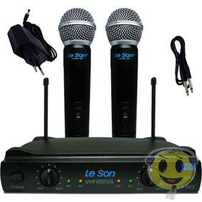 Microfone Sem Fio Duplo Leson Ls902 Ht + Case Kadu Som