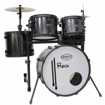 Bateria Musical Rmv Rock Bumbo De 18 + Banco + Kit De Pratos
