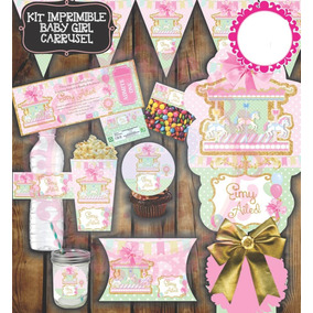 Kit Imprimible Carrusel Caballo Caballitos Rosas Niña