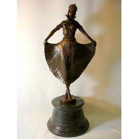 Escultura Bailarina Em Bronze Estilo Chiparus Lindíssima