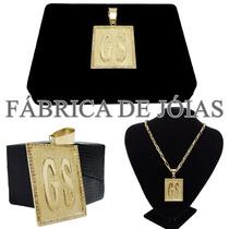 Medalha Letra E Pedras De Ouro 18k 750 Pingente 20g