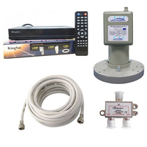 Kit Multiponto Receptor Parabolica +lnbf+divisor+cabo Coaxi