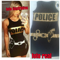 Vestido Feminino Curto Policial Fantasia Carnaval 2017