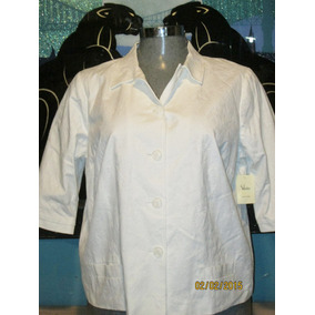Saco Plus Casual Blanco Talla 3x Extragrande