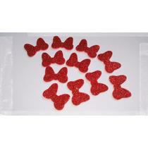 100 Recortes Lacinho Glitter Minnie Vermelha P/lembrancinhas