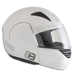 Capacete Branco Articulado Unissex Moto Ebf E08 Robocop 60
