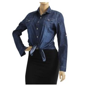 Camisa Jeans Feminina Blusa Manga Longa Degrade E Estampado