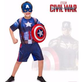 Fantasia Capitão América 3 Guerra Civil C/ Escudo E Máscara