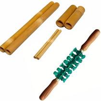 Kit Bambu + Rolo Para Massagem Turbinada E Modeladora