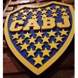 Escudo De Boca Juniors, En 3d, Madera,artesanal,p/colgar