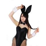 Kit Orelha Preta Gravata Punho Playboy Fantasia Cosplay