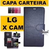 Capa Case Carteira Couro Celular Lg X Cam