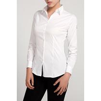 Camisa Batista De Mujer Blanca Entallada Manga Larga