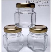 Frasco De Vidrio Mini Hexagonal 45 Ml Con Tapa (24 Piezas)