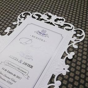Tarjeta De Invitación Elegante Corte Láser X10